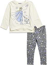 Disney Frozen Girls Long-Sleeve Fleece T-Shirt and Leggings Set