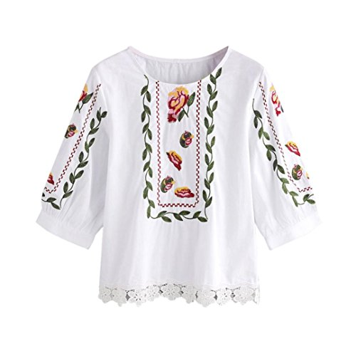 まさにパン屋キャンベラHanaturu tシャツ レディース 七分袖 レース飾り 刺繍 お花柄 可愛いフレアスリーブ ゆったい 女性 春夏 ブラウス トップス カットソー 人気プレゼント S-2XL ホワイト