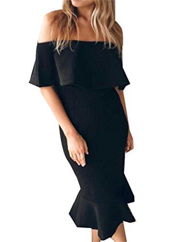 Ruffles Fit Womens Domple Mermaid Party Midi Dress Black Bodycon Shoulder Slim Off tHW7w4