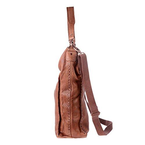 Bolso bandolera de cuero bolso de hombro Grande con Tachuelas DUDU Onyx Brown