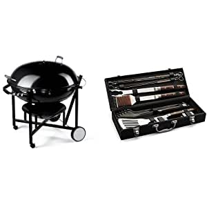 weber 60020 the ranch charcoal kettle grill with cuisinart grilling set garden. Black Bedroom Furniture Sets. Home Design Ideas