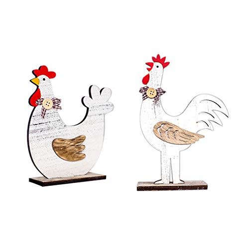 2PCS Easter Decor Wooden Cock Hen Shapes Couple Love DIY Ornaments Table Desk Craft Gifts (Multicolor)