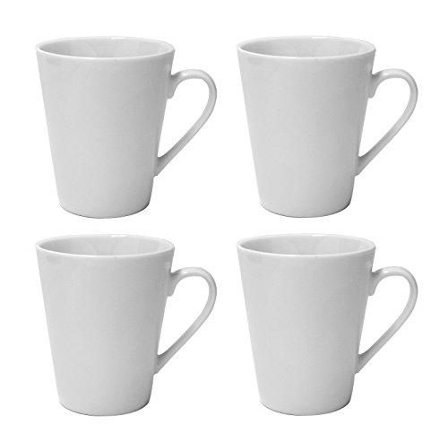 - LEANDALE Plain White 10 OZ Ceramic Cup set,Coffee Mug Set,Set of 4