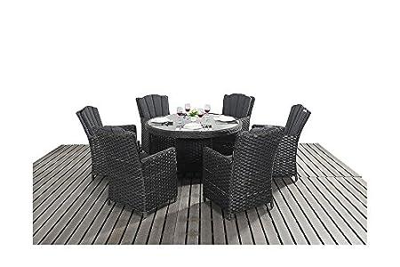 manhattan black rattan garden furniture 6 seater round dining table