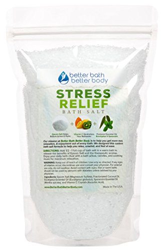 Stress Relief Bath Salt - Epsom Salt With Eucalyptus & Spearmint Essential Oils & Vitamin C Crystals - Relieve Stress & Anxiety Naturally - No Perfumes No Dyes