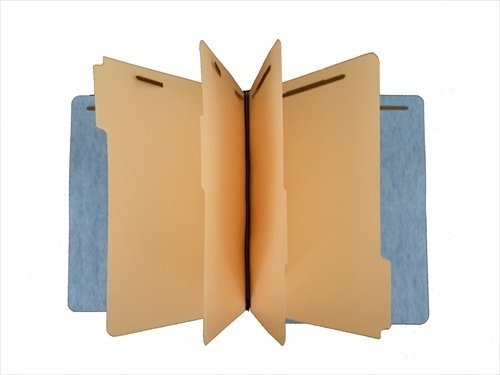 Economy Pressboard Classification/Credentialing File Folder, Full End Tab, 4'' Expansion, 3 Dividers, Bonded/Duo Fasteners, Light Blue, Box of 50