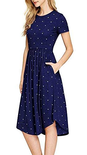 Short Polka Sleeve Casual Womens Blue Midi Swing Dark Anatoky Dot Pockets Dress twqRn15