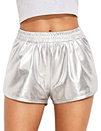 Women's Yoga Hot Shorts Shiny Metallic Pants