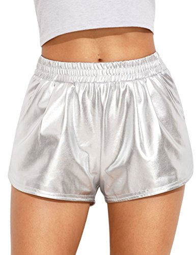 SweatyRocks Women's Yoga Hot Shorts Shiny Metallic Pants Silver XL