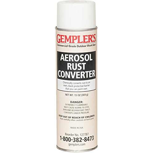 GEMPLER'S Fast Rust Converter and Primer 2-in-1 Spray-on Aerosol 13 Oz - One-Step Spray Canister to Effectively Convert Rusted Iron or Steel Surfaces and Prevent Additional Rusting (Converter Paint Rust)