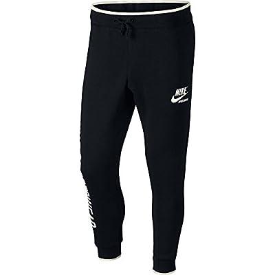 Nice Nike Sportswear Jogger Fleece Pant Men Black Sail 923484-011 for cheap