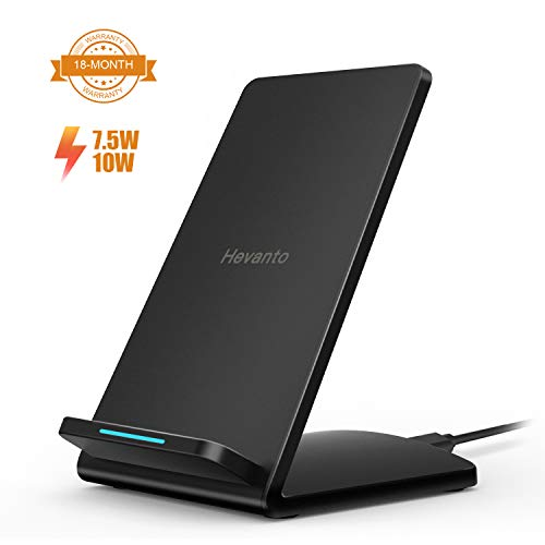 Hevanto Fast Wireless Charger, [QI-Certified] Top Speed Wireless Charging Stand, 7.5W for iPhone Xs Max/Xs/XR/X/8/8 Plus, 10W for Galaxy Note 8/9 S9/S9 Plus S8 & Qi-Enabled Phones (NO Adapter)