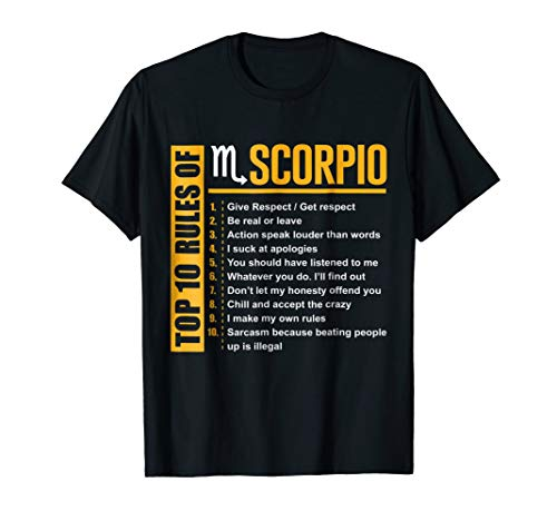 Scorpio Dress - Top 10 Rules of Scorpio Birthday Gifts T-Shirt