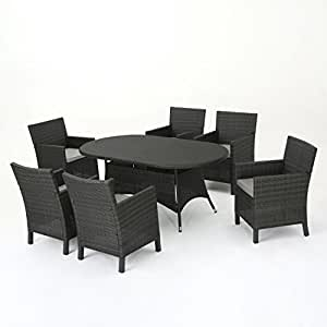 Cyril Outdoor 7 Piece Grey Wicker Round Dining Set with Light Grey Water Resistant Cushions