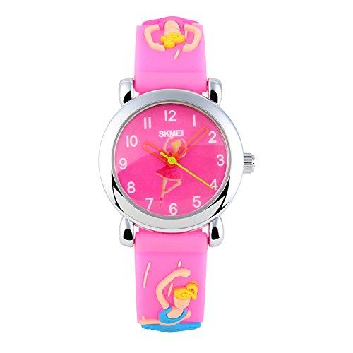 Kids Waterproof Watch, Boys Girls Kids Time Teacher Watches 3D Cute Cartoon Silicone Band Children Analog Quartz Wristwatch-pink