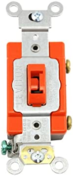 Leviton 1221-2RL 20-Amp, 120/277-Volt, Toggle Locking Single-Pole AC Quiet Switch, Extra Heavy Duty Spec Grade, Red