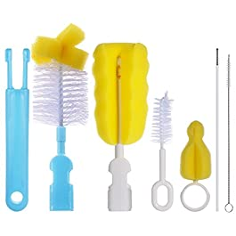 PChero 6-in-1 Baby Bottle Brushes Cleaner Set, Including 2pcs Nipple Brushes + 2pcs Straw Brushes and 2pcs Feeding…