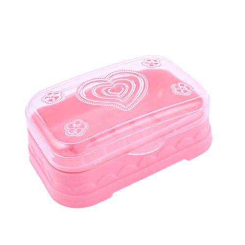 eDealMax Patrn de plstico Aseo Floral ahueca hacia fuera la Parte Inferior de jabn caja de Color rosa
