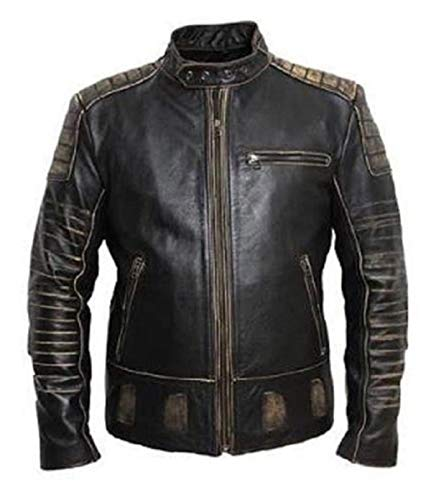 - Spazeup Mens Fashionable Distressed Biker's and Party Wear Cowhide Real Leather Jacket