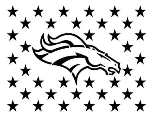 Harissa Denver Broncos Flag Star 11'', x 8.5'', Custom Stencil Fast Reusable, Sturdy, Cut Stencil Sheet (not Paper) -