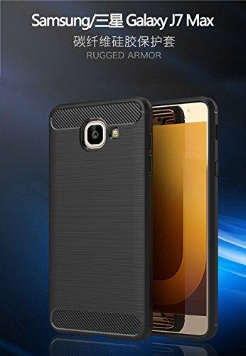 Funda Samsung Galaxy J7 max,Alta Calidad Anti-Rasguño y Resistente Huellas Dactilares Totalmente Protectora Caso de Cover Case Material de fibra de carbono TPU Adecuado para el Samsung Galaxy J7 max A