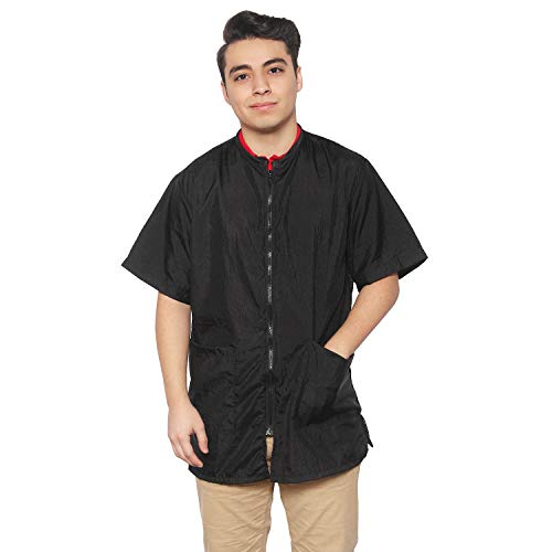 Jacket Nylon Complete - Unisex Salon Jacket Black for Men and Women 2 pockets zipper (x-large, black)