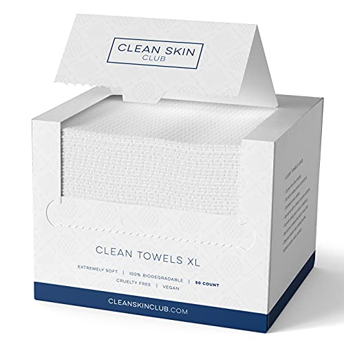 Clean Skin Club – Clean Towels XL   World's 1ST Biodegradable Face Towel   Disposable Makeup Removing Wipes…