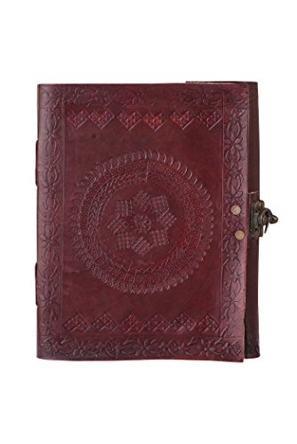 Flower Gallery Music Box (Adimani Handmade Brown Leather Diary/Travel Writing Journal Notebook with Strap/Refillable 8x6- Thoughtful Gift)