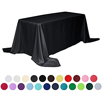 VEEYOO 90 x 132 inch Rectangular Solid Polyester Tablecloth for Wedding Restaurant Party , Black