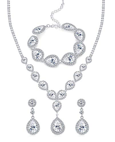 (FUNRUN JEWELRY Wedding Bridal Crystal Jewelry Set for Women Teardrop Statement Necklace Bracelets Earrings Set)