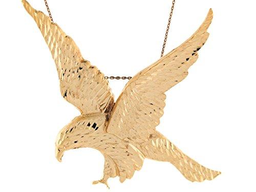 14k Yellow Gold Diamond Cut Patriotic Soaring Eagle Pendant