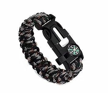 rasqueta para aire libre Doyeemei Juego de dos pulseras de supervivencia con silbato cuerda mechero