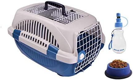 Choco Nose Pet Travel Set. Durable Top Load Pet Travel Kennel, Carrier, Crate for Pets Under 12 Lb, Small to Mini Sized Dog, Cat, Rabbit, Chinchilla. Portable Water Bottle Pet Bowl.