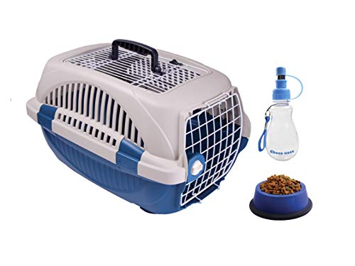 Choco Nose Pet Travel Set. Durable Top Load Pet Travel Kennel, Carrier, Crate for Pets Under 12 Lb, Small to Mini Sized Dog, Cat, Rabbit, Chinchilla. Portable Water Bottle & Pet Bowl (Blue)