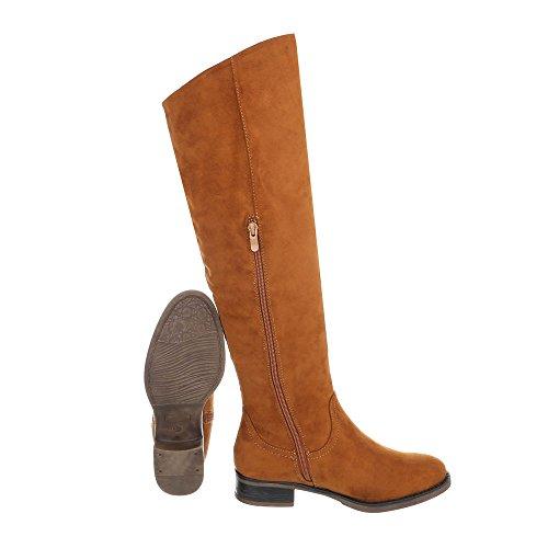 Ital-Design Klassische Stiefel Damenschuhe Klassische Stiefel Blockabsatz Blockabsatz Reißverschluss Stiefel Camel 990-PG