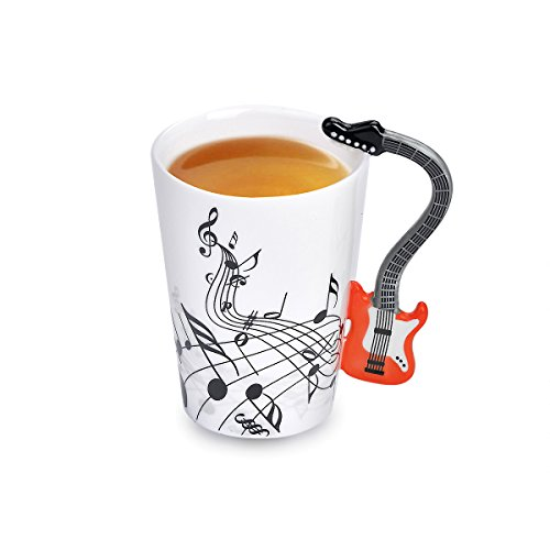 Bone Guitars Red (DeFancy 11 oz Musical Note Ceramic Coffee Mug Tea Travel Mug Novelty Guitar Coffee Milk Cup for Gift (Red))