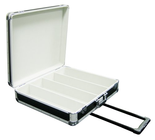 Marathon Elight Series MA-ECD4Hw Bk CD Case 4 Row Holds Up To 200 Jewel Cases & Up To 600 Plastic Sleeves with Handle & Wheels: Black ()