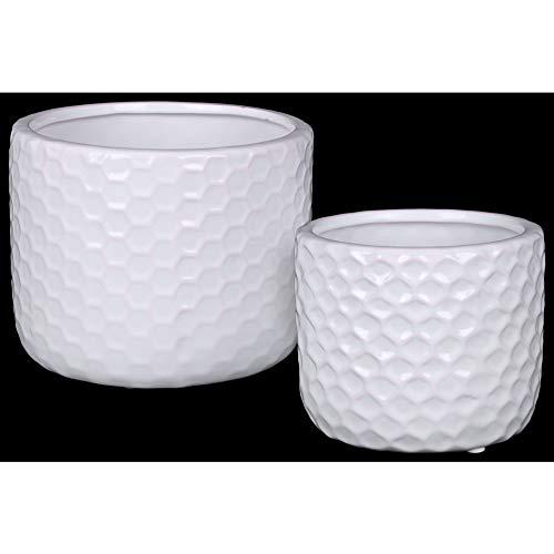 - Benzara BM179013 Ceramic Round Vase with Engraved Diamond Pattern, Set of Two, White