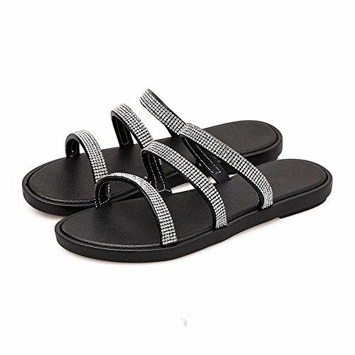 YMFIE Fond épais d'été pour femmes sandales pantoufles chaussures piscine sandales à embout d'air black OCZ2k5