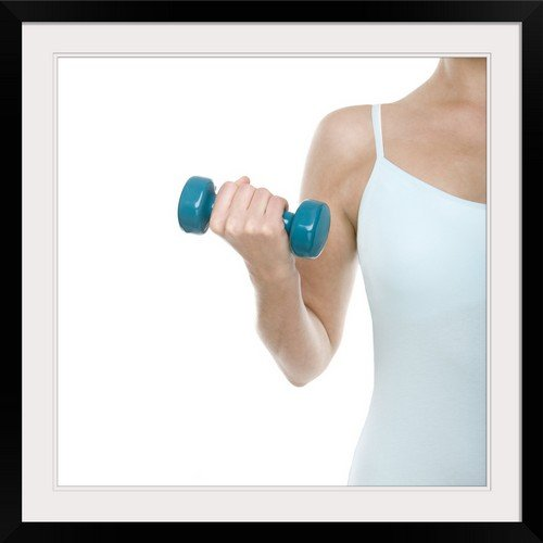 GreatBIGCanvas ''Woman Lifting Weights'' Photographic Print with black Frame, 30'' X 30''''
