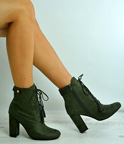 Brand New Femmes Bottines Dames Mi Bloc Talon Lace Up Chaussures Taille Uk 3-8 Vert