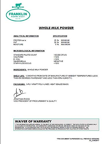 50 lb Whole Milk Powder - 28% Milk Fat - by Franklin Farms by Generic (Image #3)