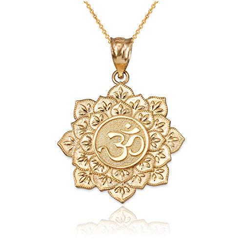 LA BLINGZ 14K Yellow Gold Om Lotus Mandala Pendant Necklace (16) ()