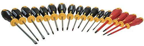 Felo 0715761391 Ergonomic Screwdriver Set With Steel Rack includes Slotted, Square, Phillips & Torx Sizes (17 (Electronic Screwdriver Set Ergonomic Handle)
