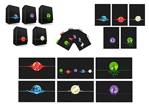 Max-Pro 6 Playmats + ALL 5 ICONIC ELEMENTAL Symbol DECK BOXES Divider Set + 500 SLEEVES ( 100 of each design) fits MTG Mana FORCE OF WILL Pokemon by Max Protection