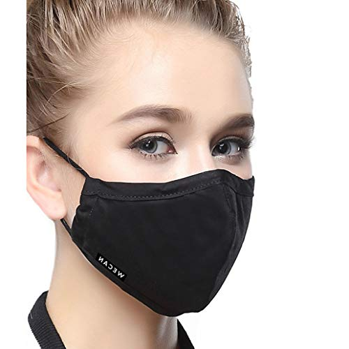 Cotton Mouth Masks Replaceable Filter (One Mask + 8 Filters) 4 Layer Activated Carbon Filter Insert Dust Mask Washable For Women Black