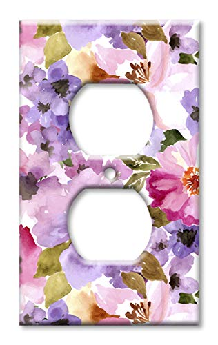 (Art Plates Duplex Outlet Cover Wall Plate - Pink and Purple Flower Watercolor)