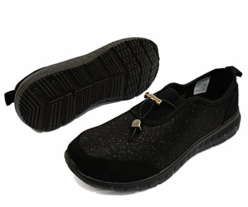 Damen Schwarz zum Reinschlüpfen Komfort Memory Foam Trainer Turnschuhe Freizeit Pumps Schuhe Größen 3-9