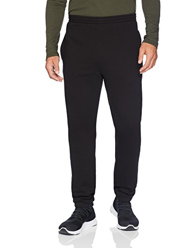 (Amazon Essentials Men's Closed Bottom Fleece Pant, Black, Large)