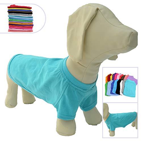 Lovelonglong 2019 Pet Clothing Dog Costumes Dachshund Clothes Blank T-Shirt Tee Shirts for Dachshund Dogs,Corgi 100% Cotton Turquoise D-S]()